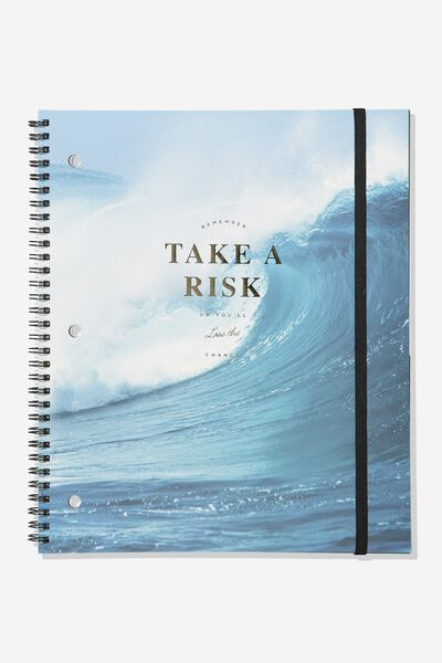 College Ruled Spinout Notebook V, TAKE A RISK WAVE