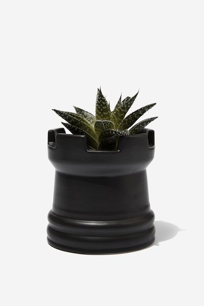 Midi Shaped Planter, BLACK CHESS PIECE