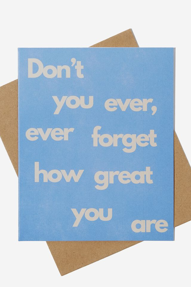 Thank You Card, DON'T FORGET HOW GREAT YOU ARE BLUE