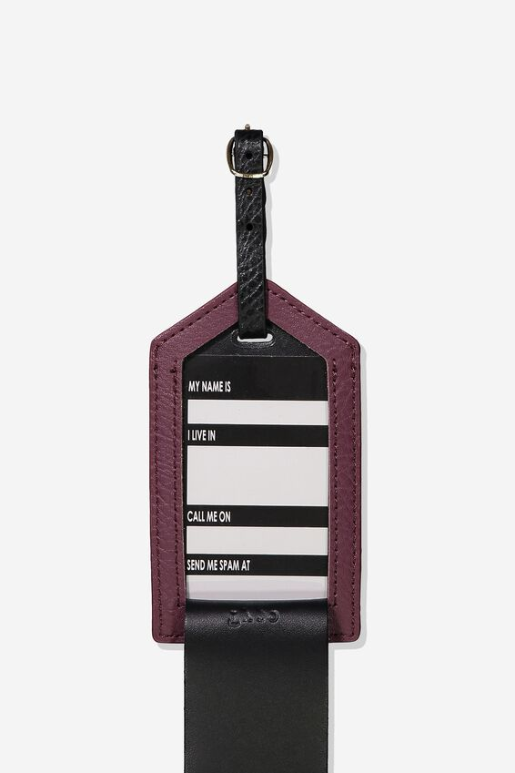 Luggage Tag, BURGUNDY LEOPARD