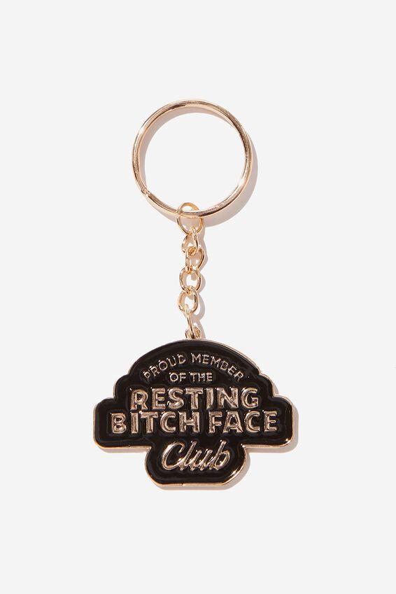 Enamel Keyring, RESTING BITCH FACE CLUB!