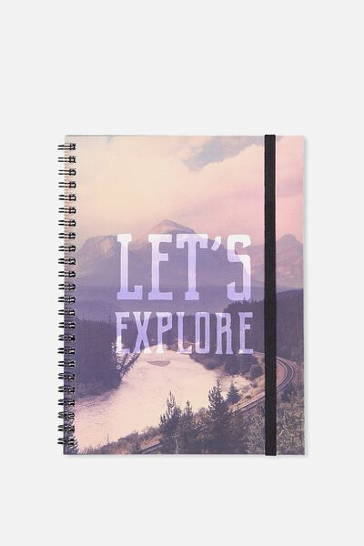 A5 Spinout Notebook - 120 Pages, LETS EXPLORE