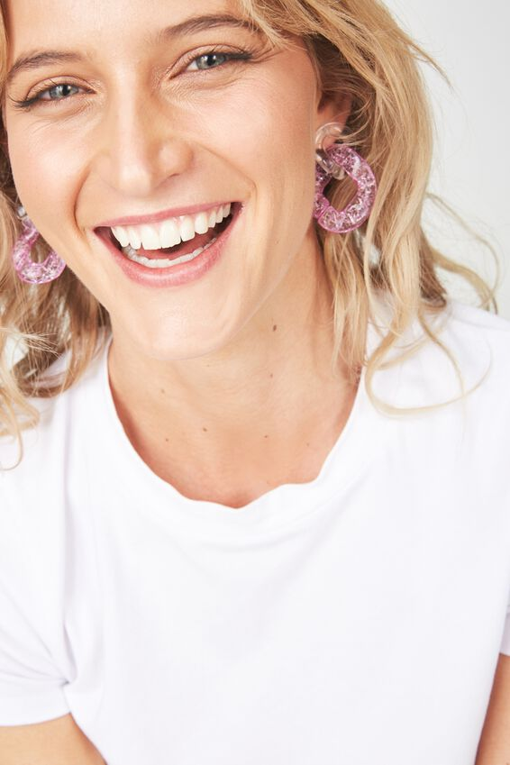 Premium Novelty Earrings, CLEAR PINK
