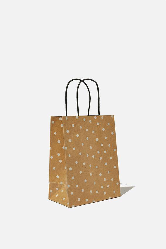 Get Stuffed Gift Bag - Small, KRAFT WHITE SPOT