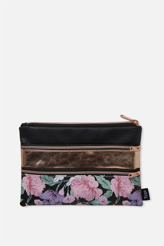 Double Archer Pencil Case, LUSH FLORAL