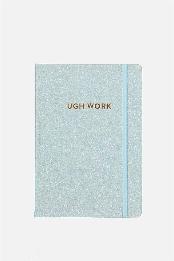 Personalised A5 Buffalo Journal, LIGHT BLUE GLITTER