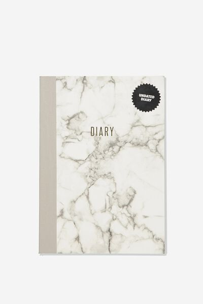 A5 Understated Undated Diary, WHITE MARBLE