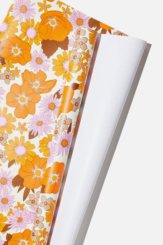 Roll Wrapping Paper, PINK ORANGE STEVIE FLORAL
