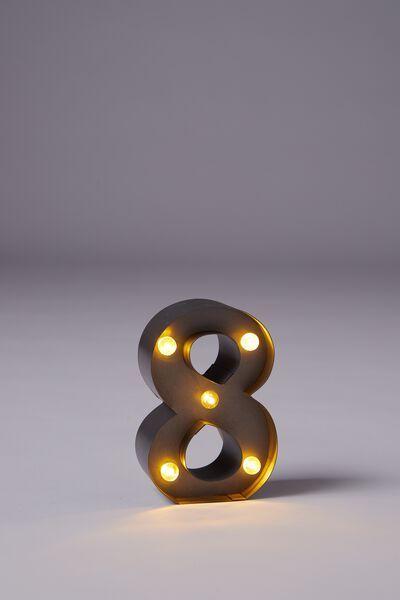 "Mini Marquee Letter Lights 3.9"", SILVER NUMBER 8"