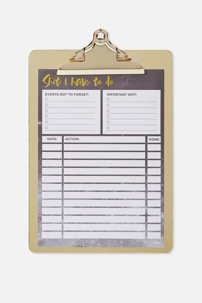 Large Clipboard Planner, BLACK SHIT TO DO!
