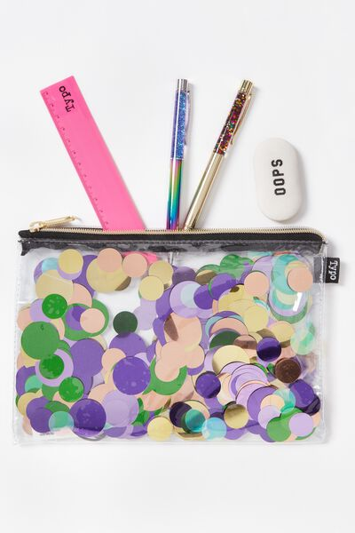 Confetti Pencil Case, PINK MULTI