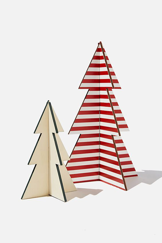Wooden Mini Christmas Tree Pack, RED STRIPE & GREEN