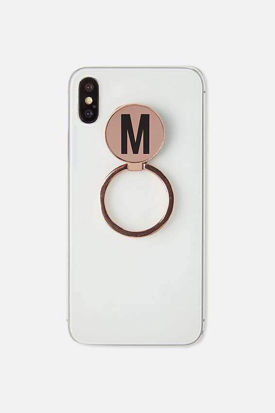 Metal Alpha Phone Ring, ROSE GOLD M