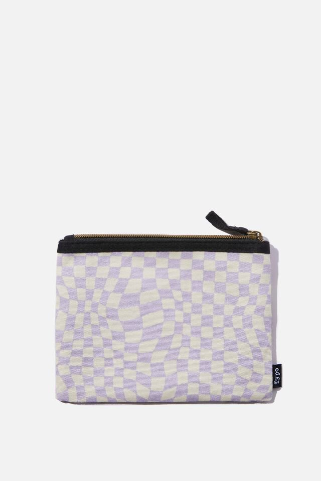 Spinout Pencil Case, WARP CHECKBOARD LILAC & FLORAL