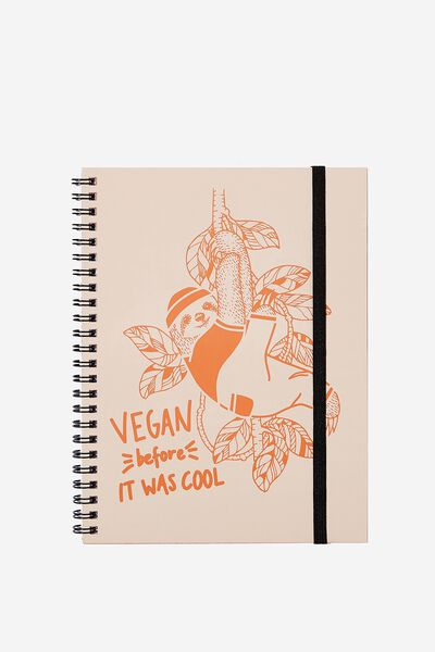 A5 Spinout Notebook - 120 Pages, VEGAN SLOTH