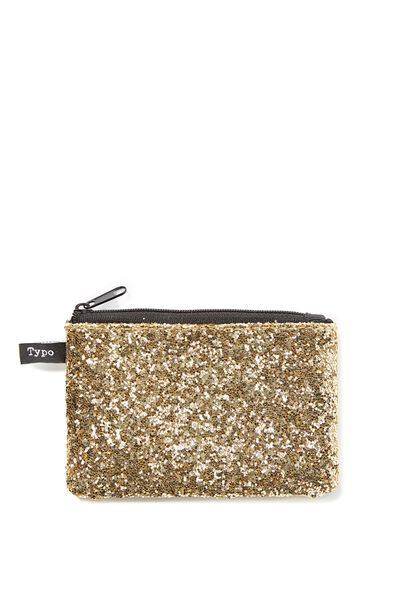 Penny Coin Purse, GOLD GLITTER