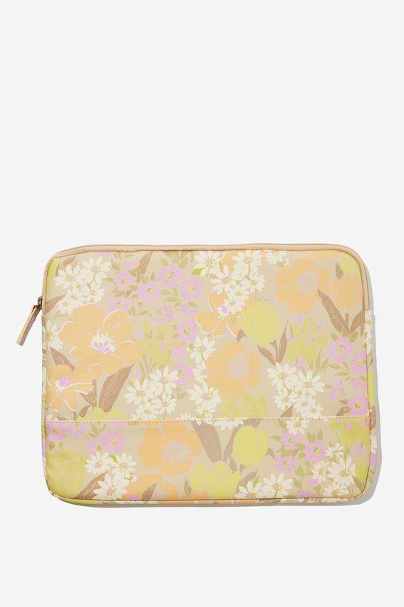 Take Me Away 15 Inch Laptop Case Pu, SAND GOLDIE FLORAL