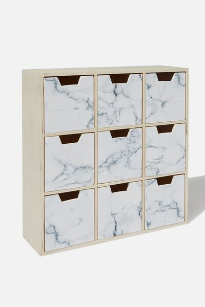 Square Quick Drawer Storage, WHITE MARBLE