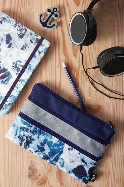 Double Archer Pencil Case, NAVY MARLE WATER