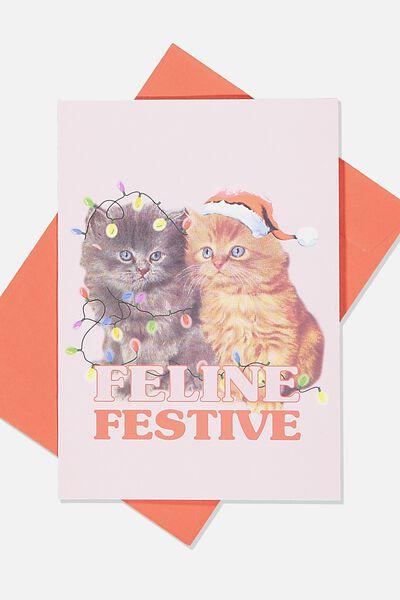 Christmas Card 2019, CATS FELINE FESTIVE