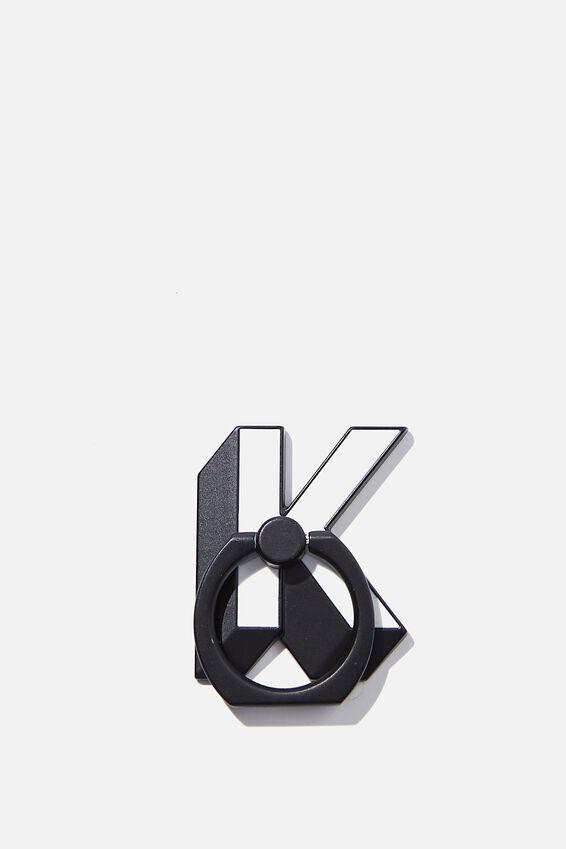 Metal Alpha Phone Ring, SHAPED K