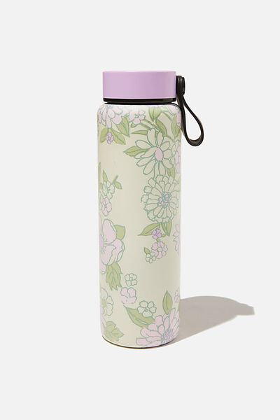 On The Move Metal Drink Bottle 500Ml, MINT PINK MOLLY FLORAL
