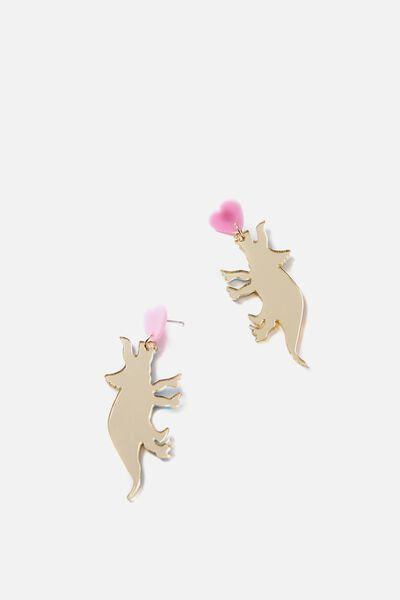 Premium Novelty Earrings, DINOSAUR LOVE