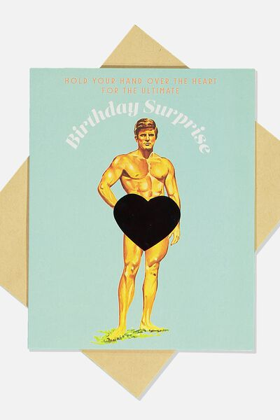 Premium Funny Birthday Card, HEAT SENSITIVE HUNK