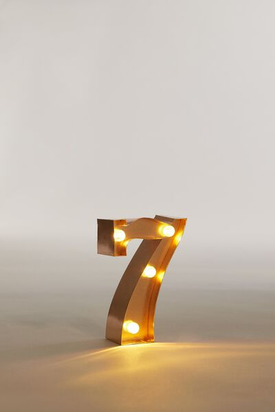 Mini Marquee Letter Lights 10cm, ROSE GOLD NUMBER 7