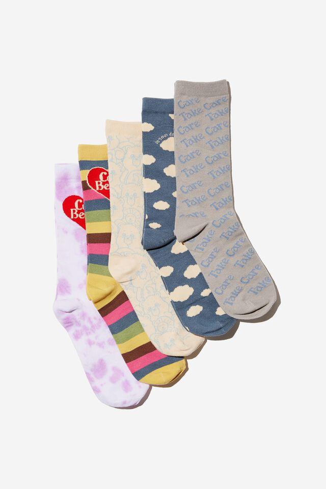 Box Of Socks, LCN CLC PASTEL CARE BEARS (S/M)