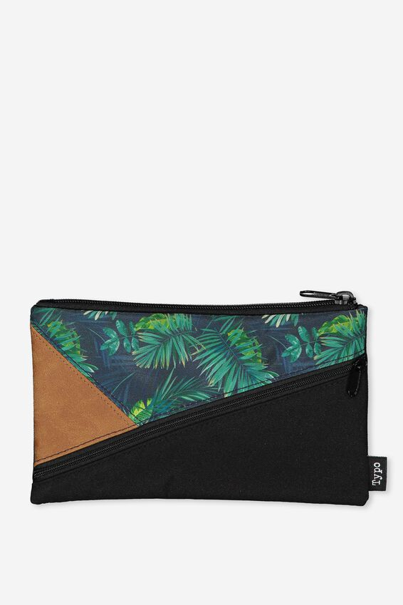Premium Pencil Case, JUNGLE LEAVES COLOURED