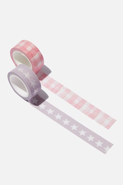 Washi Tape 2Pk, STARS & GINGHAM