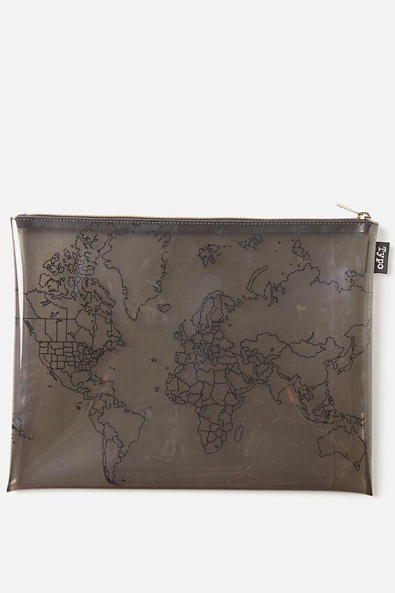 Printed Document Wallet, BLACK LINE MAP
