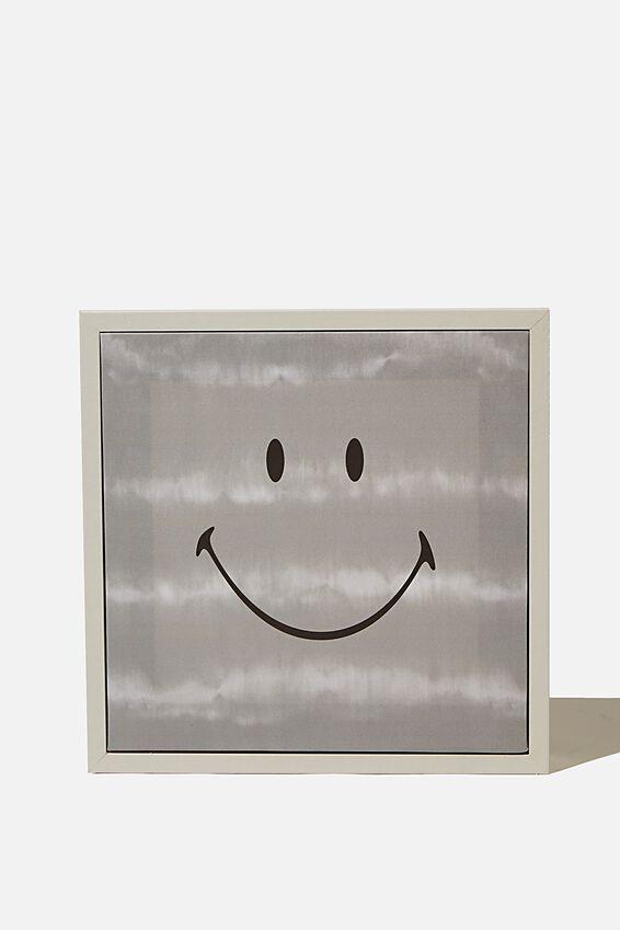 24 X 24 Mini Canvas Art, LCN SMI SMILEY GREY TIE DYE