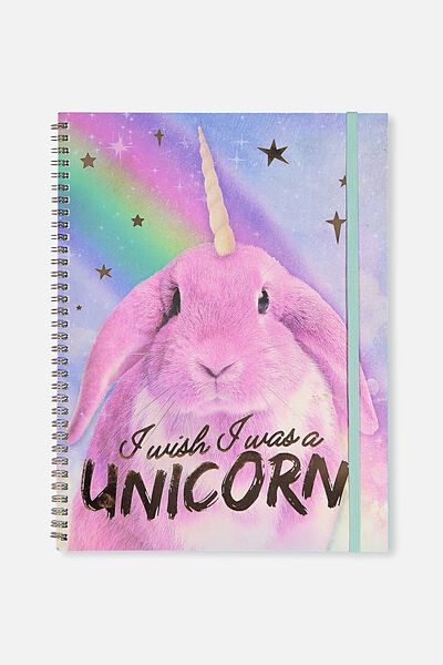 A4 Spinout Notebook - 120 Pages, BUNNY UNICORN