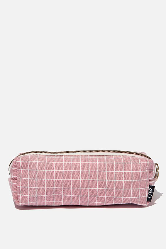 Bailey Pencil Case, PLAIN GRID DUSTY ROSE