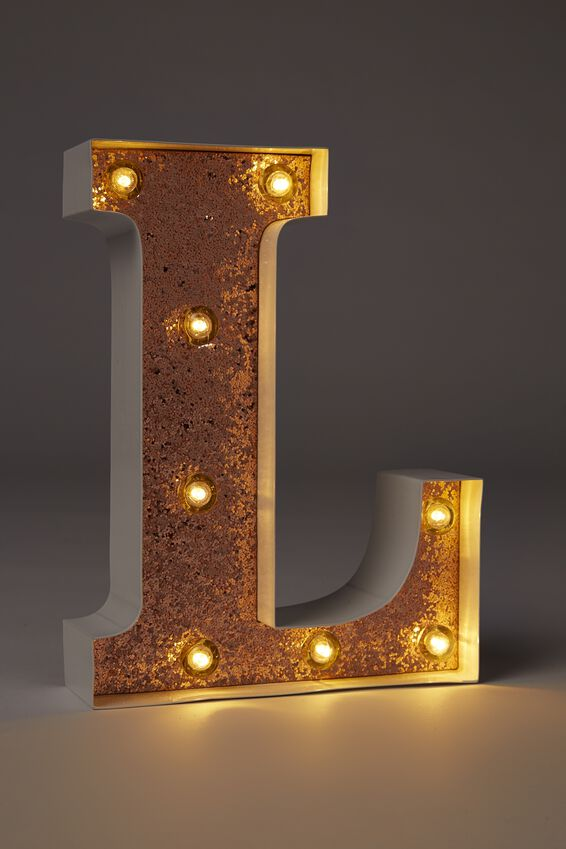 Small Marquee Letter Lights 23cm, WHITE WITH ROSE GOLD GLITTER L