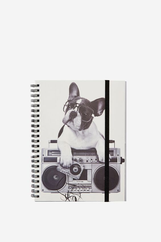 Small Spinout Notebook - V, BOOM BOX FRENCHIE