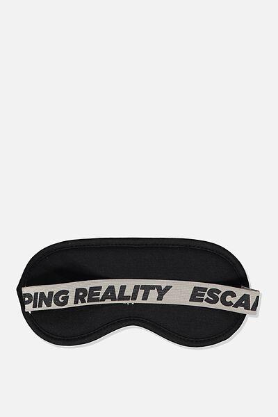 Premium Sleep Eye Mask, BLACK ESCAPING REALITY