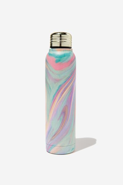 Small Metal Drink Bottle, RAINBOW MARBLE
