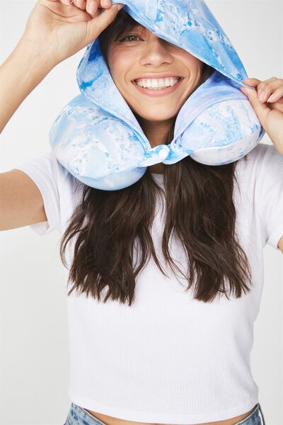 Hooded Travel Neck Pillow, BLUE MARBLE