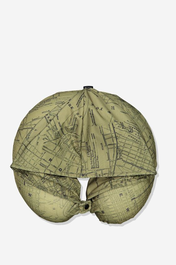 Travel Neck Pillow with Hood, KHAKI MAP