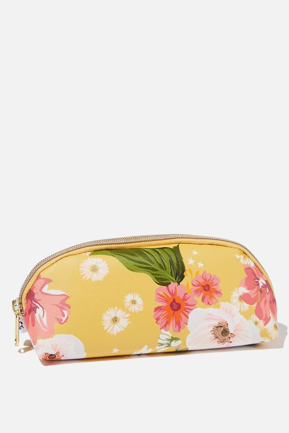 Curved Pencil Case, MUSTARD FLORAL