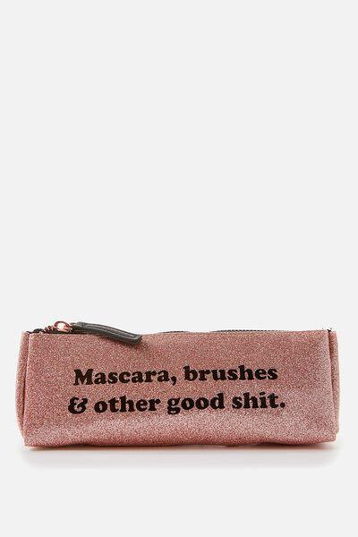 Make Up Brush Case, ROSE GOLD GLITTER
