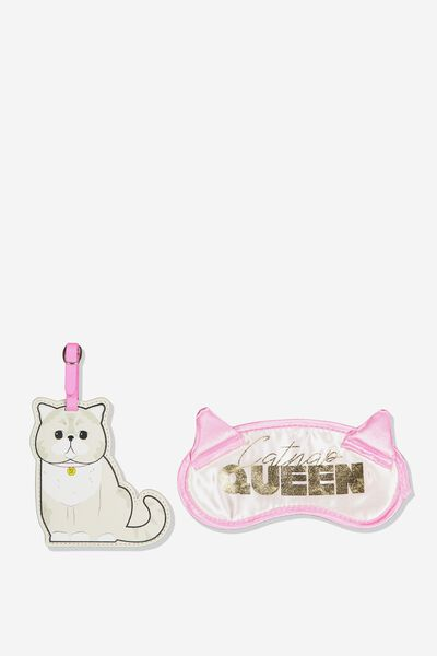 Eye Mask & Luggage Tag Set, CAT