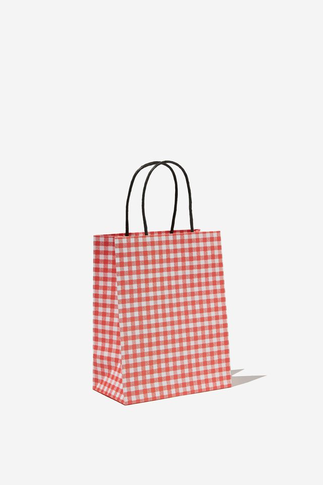 Get Stuffed Gift Bag - Small, TRUE RED GINGHAM