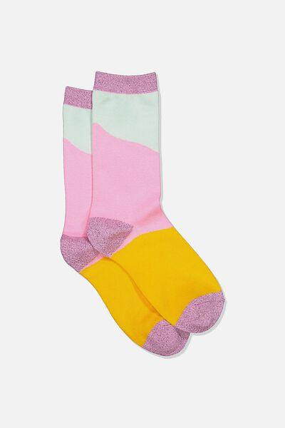 Womens Novelty Socks, PASTEL SPLICE
