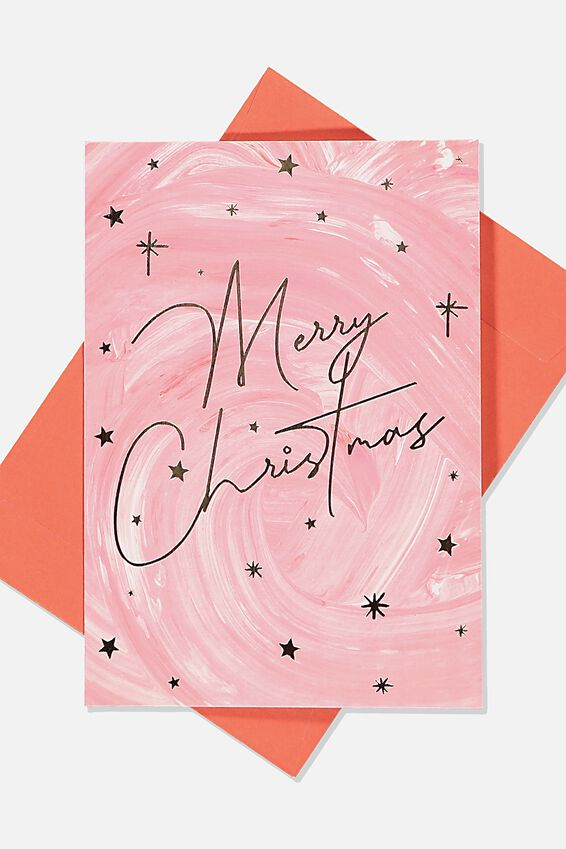 Christmas Card, MERRY CHRISTMAS RED WATERCOLOUR