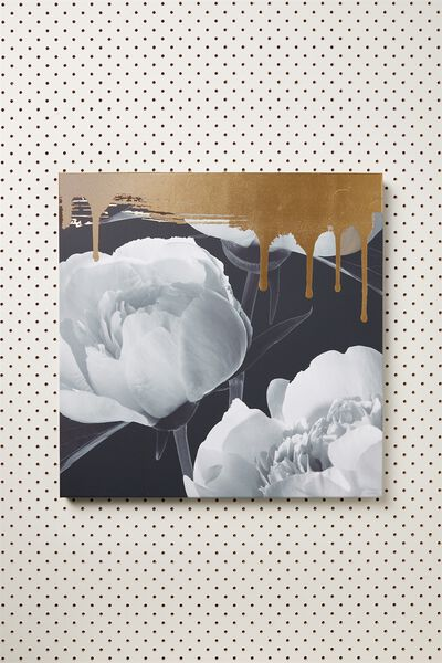 45X45 Canvas, GOLD DRIP FLORAL