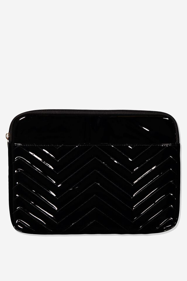 Take Charge 13 Inch Laptop Cover, BLACK QUILTED CHEVRON